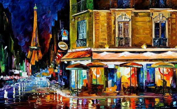 Afremov Painting - Paris - Recruitement Cafe by Leonid Afremov
