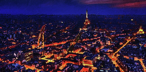 City Digital Art - Paris City View by PixBreak Art
