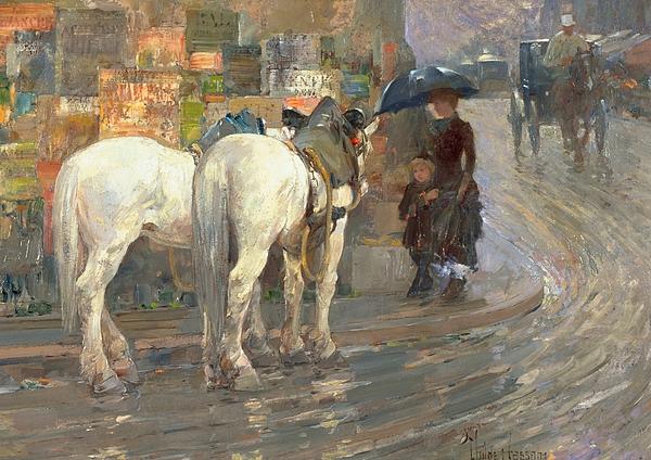 Horses; Carriage; Parisian; Posters; Umbrella; Street Corner; Horse Painting - Paris Street Scene by Childe Hassam