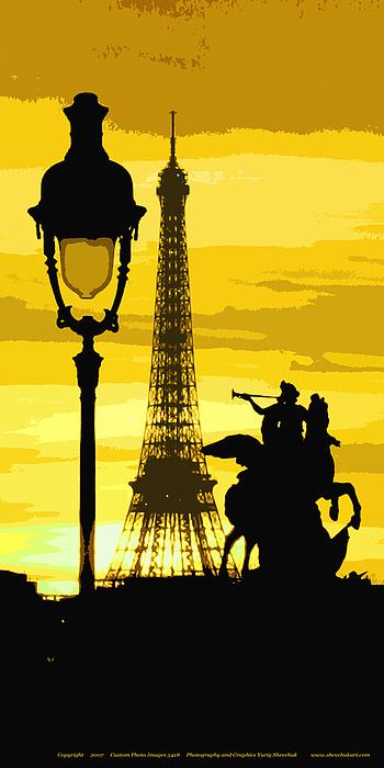 Paris Photograph - Paris Tour Eiffel Yellow by Yuriy  Shevchuk