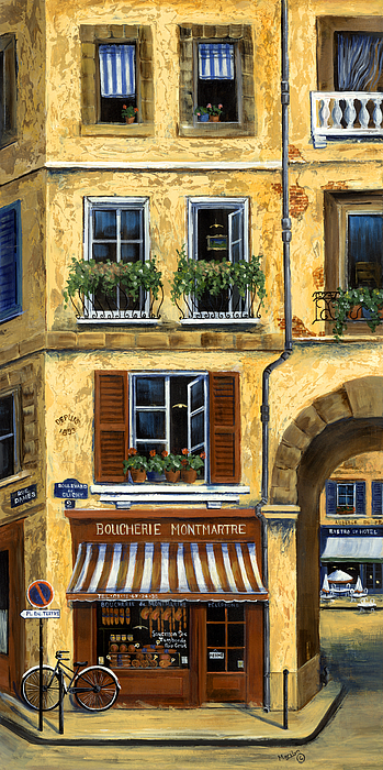 Parisian Bistro And Butcher Shop Painting By Marilyn Dunlap