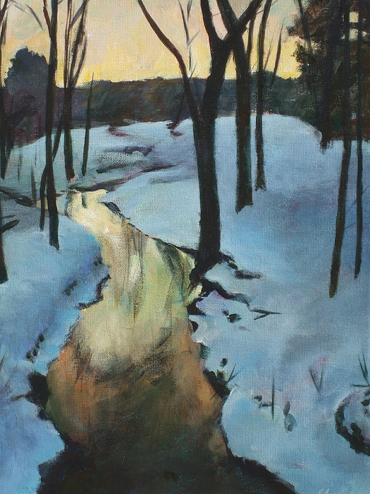 White Painting - Parlee Farm Sunset Creek by Claire Gagnon