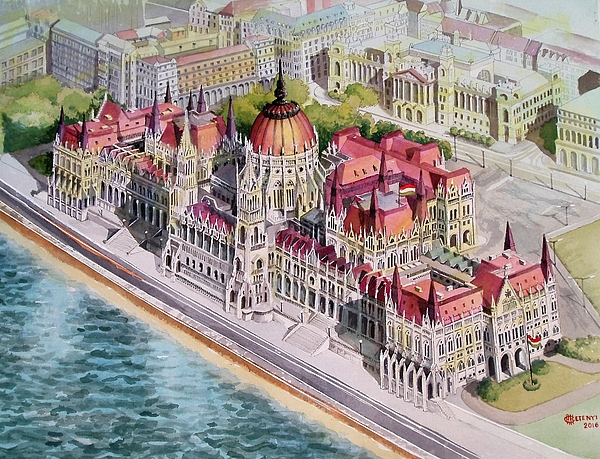 Parliament Painting - Parliment Of Hungary by Charles Hetenyi
