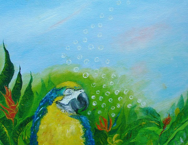 Parrothead Painting - Parrothead Wakes Up In Margaritaville by Phyllis OShields