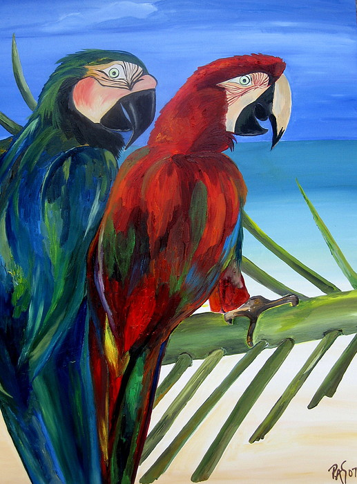 Parrots Painting - Parrots On The Beach by Patti Schermerhorn
