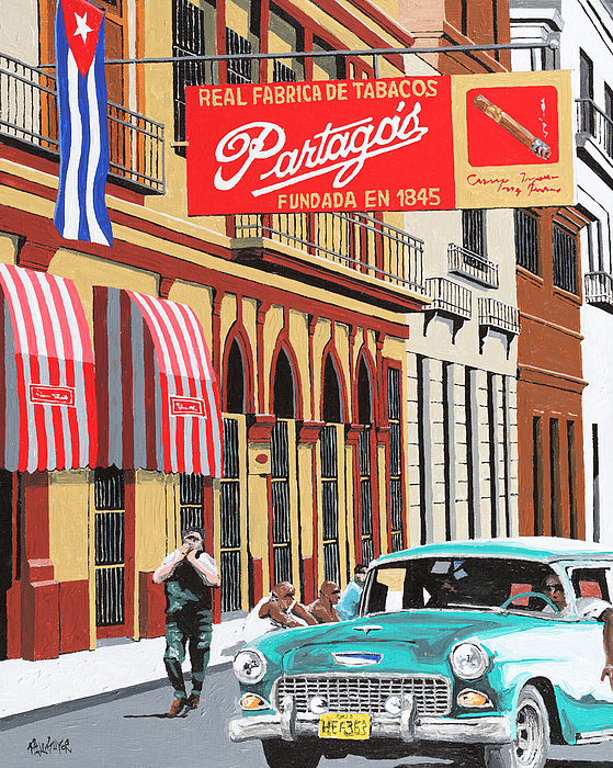 Partagas Cigar Factory Painting - Partagas Cigar Factory Havana Cuba by Miguel G