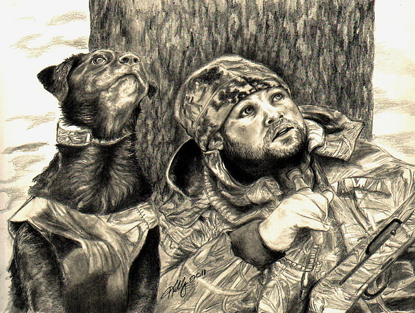 Hunting Scenes Drawing - Partners by Kathleen Kelly Thompson