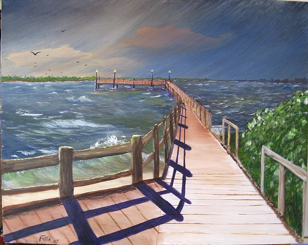 Seascape Painting - Passing Storm by Rich Fotia
