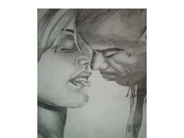Kiss Drawing - Passion by Marquita Smith