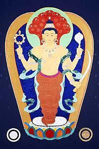 Patanjali Painting - Patanjali Thangka by Leslie Nguyen Temple
