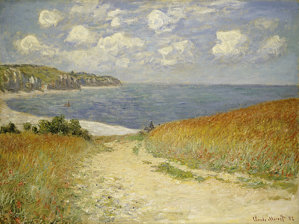 Beach Painting - Path In The Wheat At Pourville by Claude Monet