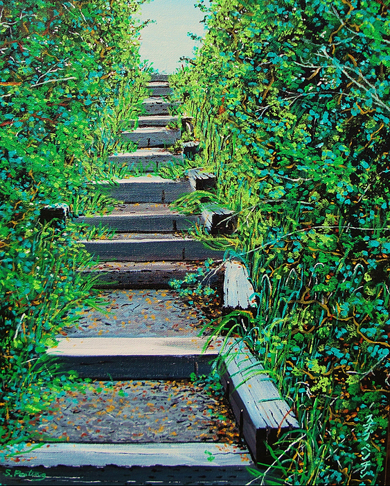 Steps Painting - Pathway To Puget Sound by Stephen Ponting