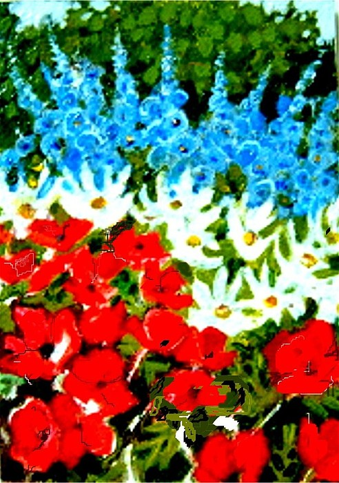 Garden Painting - Patriotic Garden by Diane Ursin