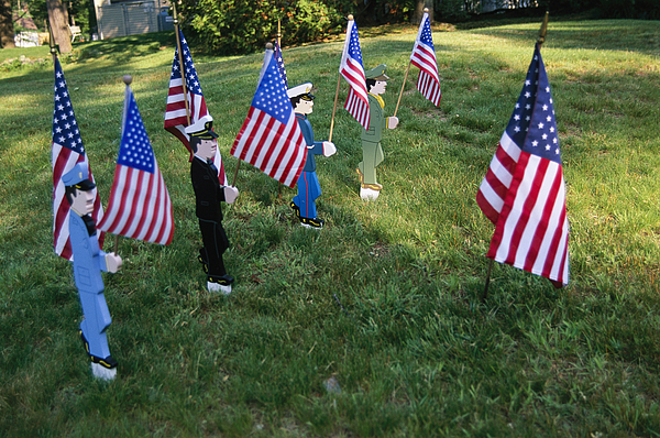 Outdoors Photograph - Patriotic Lawn Ornaments Represent by Stephen St. John