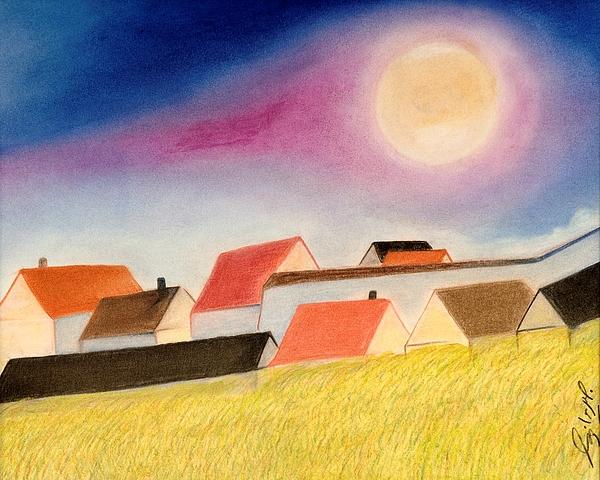 Landscape Pastel - Peace At Hill by Jalal Gilani