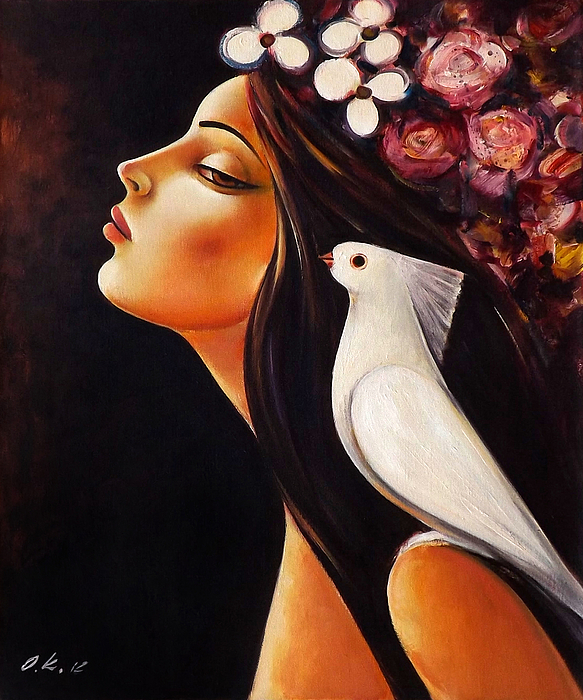 Original Painting - Peace On My Shoulder by Ognian Kouzmanov