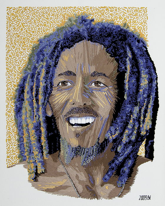 Portrait Tapestry - Textile - Peace Portrait One Bob Marley by Barbara Lugge