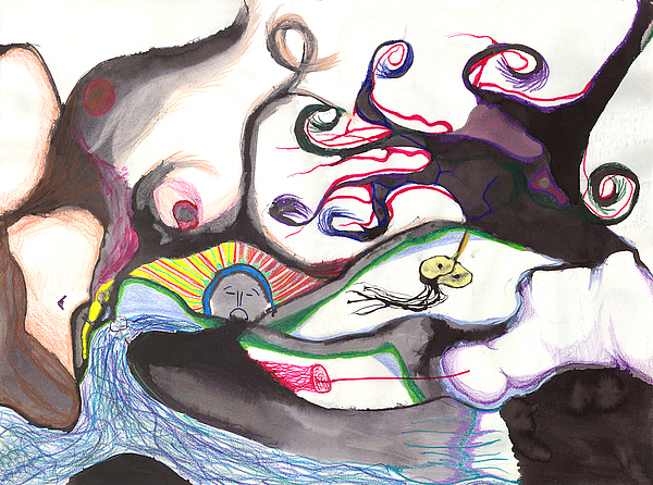 Abstract Drawing Drawing - Peace River by Jody Brusca