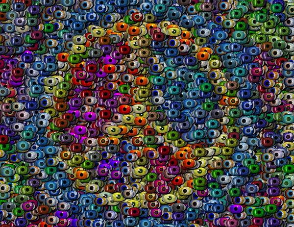Eyeball Digital Art - Peace Sign Eyeball Mosaic by Paul Van Scott