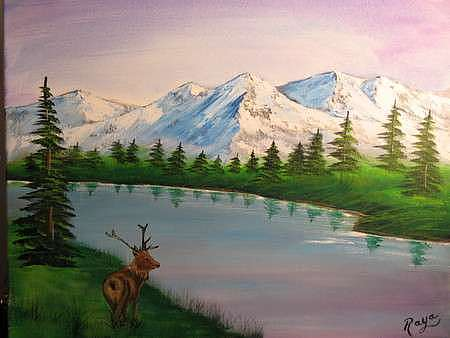 Dear Painting - Peaceful Mountain by Jesus Raya Jr