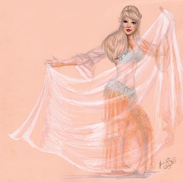 Belly Dancer Drawing - Peachy Dancer by Scarlett Royal