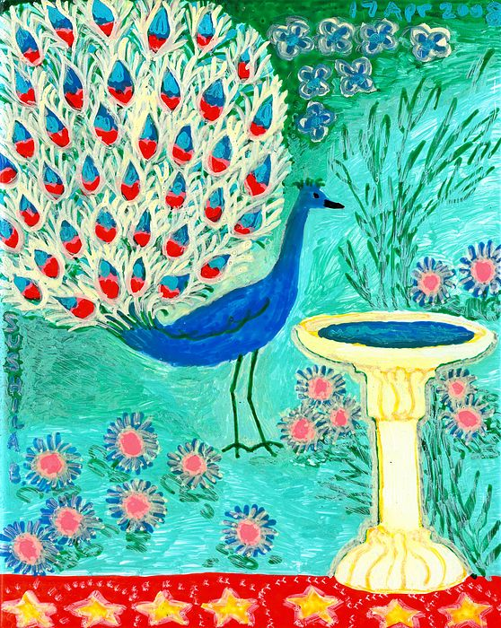 Sue Burgess Painting - Peacock And Birdbath by Sushila Burgess