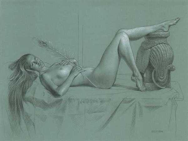 Female Nude Drawing - Peacock And Elephant by Seidai Tamura