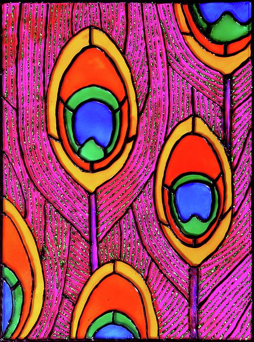 Peacock Glass Art - Peacock Feathers by Farah Faizal
