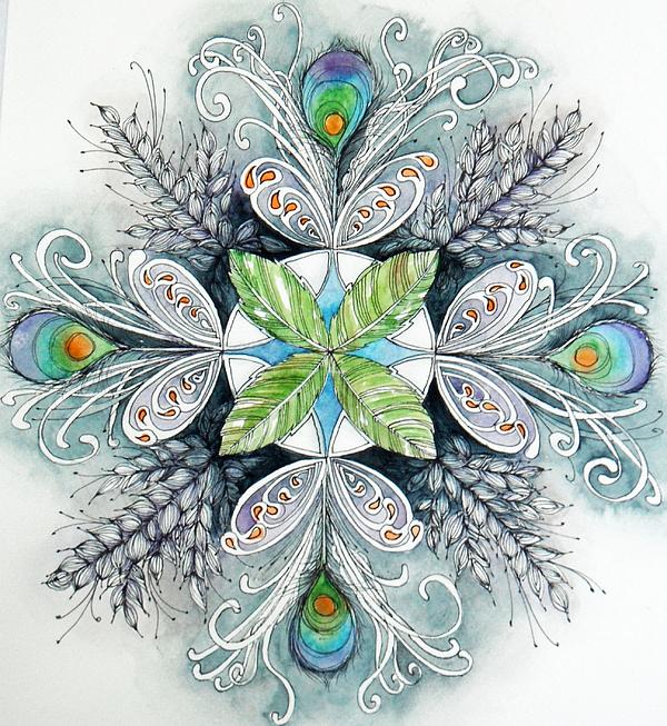 Peacock Mandala Painting by Andrea Thompson