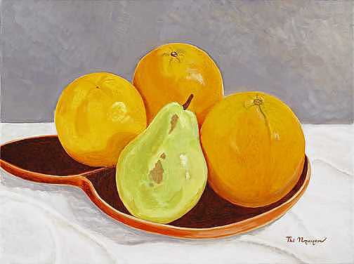 Pear Painting - Pear And Oranges by Thi Nguyen