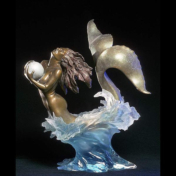 Mermaid Sculpture - Pearl Diver by Jeff Hall