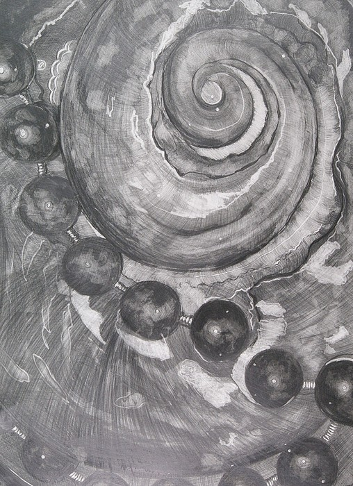 Pearls And Shells Drawing by Artistic Endeavor Gallery Judith Lorraine White
