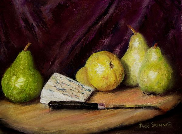Still Life Pastel - Pears And Cheese by Jack Skinner