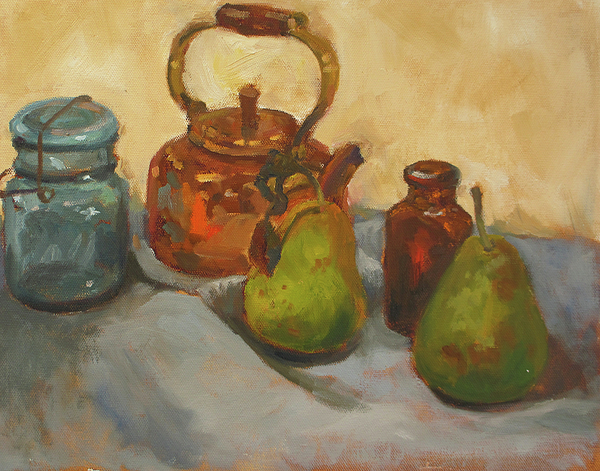 Copper Kettle Painting - Pears With Copper Kettle by Nora Sallows