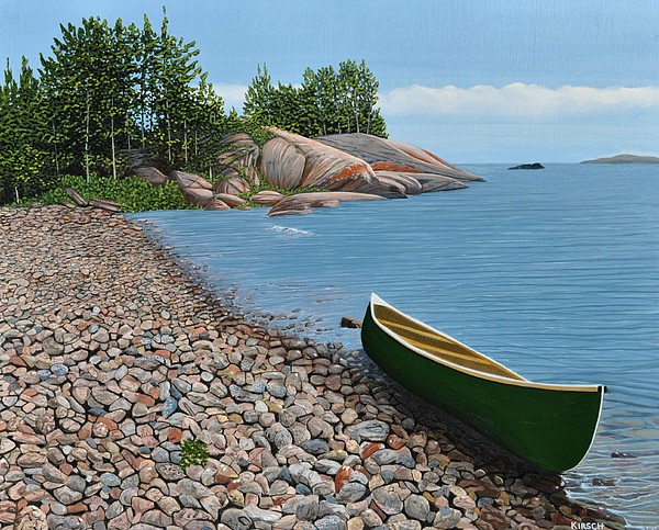 Canoe Painting - Pebble Beach by Kenneth M  Kirsch