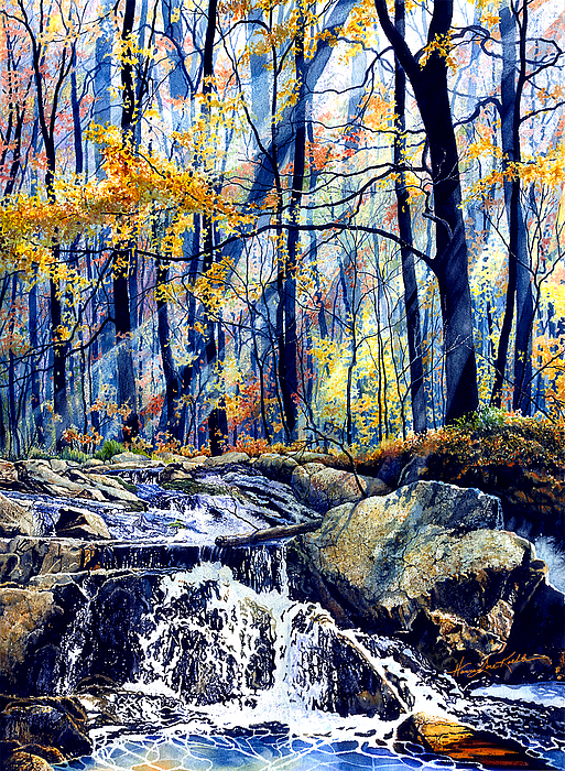 Fall Color Painting - Pebble Creek Autumn by Hanne Lore Koehler