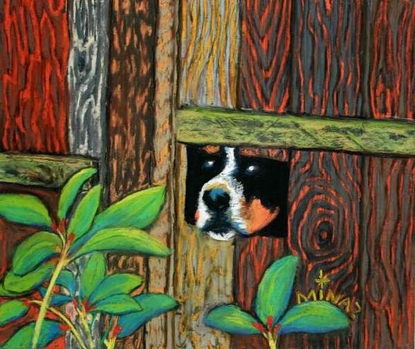 Peek-a-boo Fence Painting by Minaz Jantz