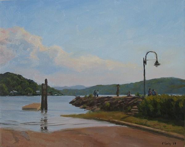 Hudson River Painting - Peekskill Landing by Ella Yang