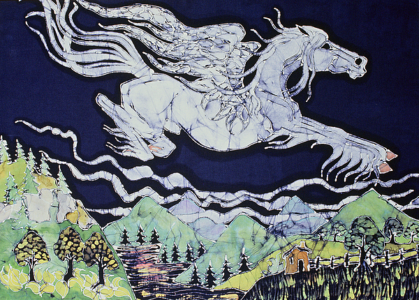 Fantasy Tapestry - Textile - Pegasus Flying Over Stream by Carol  Law Conklin