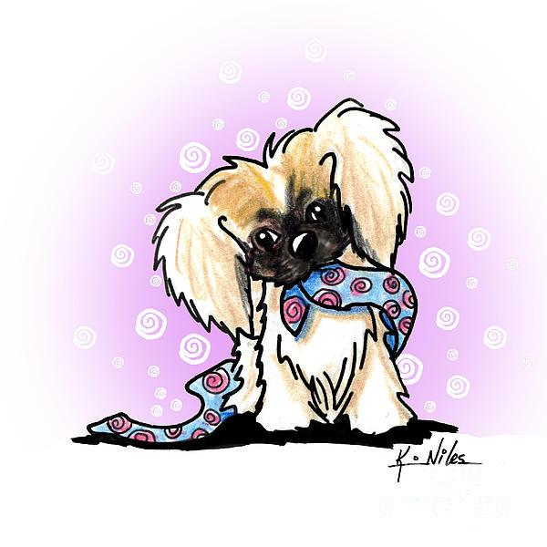 Pekingese Mixed Media - Pekingese Puppy by Kim Niles