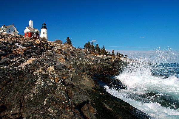 Coastline Photograph   Pemaquid Point Lighthouse   Seascape Landscape Rocky  Coast Maine By Jon Holiday
