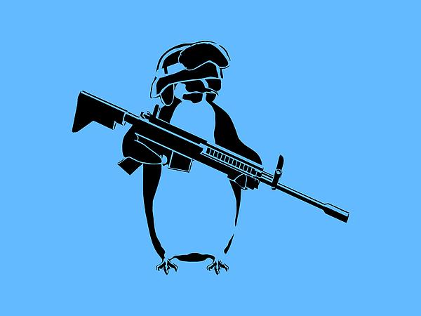 Penguin Digital Art - Penguin Soldier by Pixel Chimp