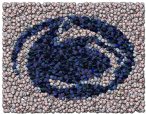Penn State Digital Art - Penn State Bottle Cap Mosaic by Paul Van Scott