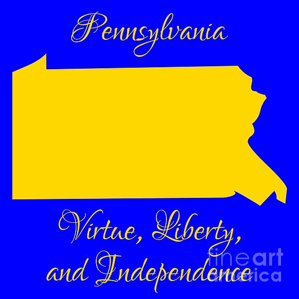 Pennsylvania Digital Art - Pennsylvania Map In State Colors Blue And Gold With State Motto Virtue Liberty And Independence by Rose Santuci-Sofranko