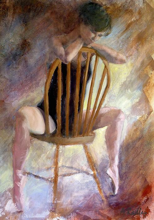 Ballet Ballerina Dance Dancer Dancing Pointe Shoes Oil Ballet Slippers Music  Painting - Pensive Dancer by Ann Radley