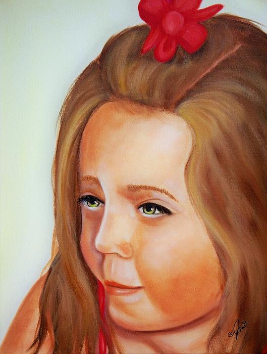 Portrait Painting - Pensive Lass by Joni McPherson