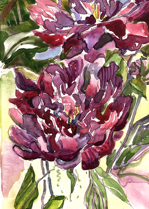 Peonies Painting - Peonies by Mindy Newman