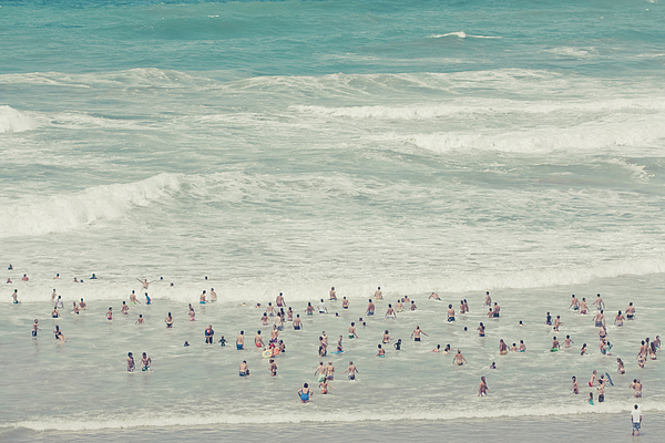Horizontal Photograph - People Walking Into Ocean by Cindy Prins