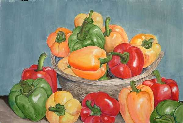 Peppers Painting by Diane Ziemski