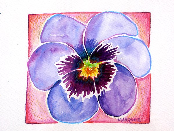 Floral Painting - Perfect Pansy by Margaret Marquez